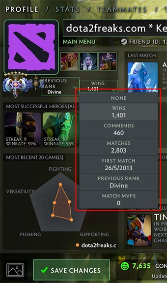 Change profile MMR