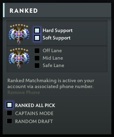 Dota 2 Ranked Role Selection
