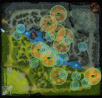 Dota 2 Map with Wards