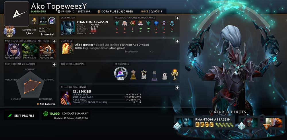 Phantom Assassin Dota 2 User Profile