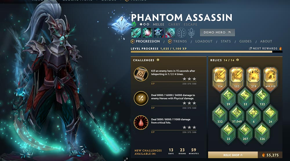 Phantom Assassin Hero Menu